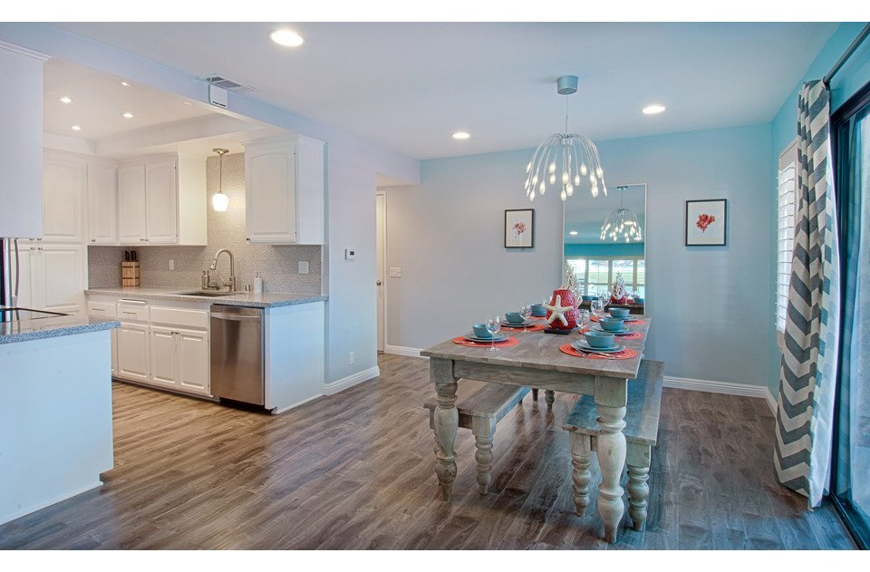 Open floor plan with kitchen, dining room and living all together.