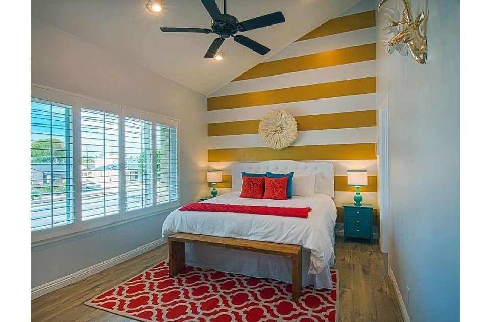Ultra comfy mattress and linens. Cool gold accents. Relax in our master suite!