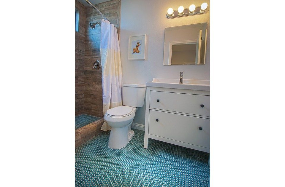 Master bath with fun penny tiles, wood tile shower, and extra tall showerhead!