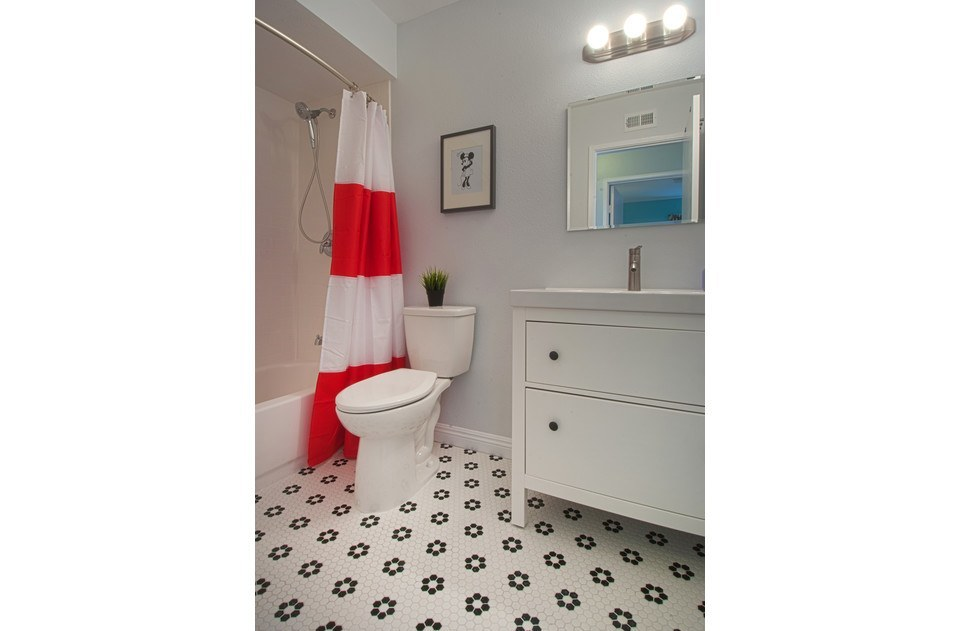 Minnie inspired upstairs bath with brand new tub and tile!